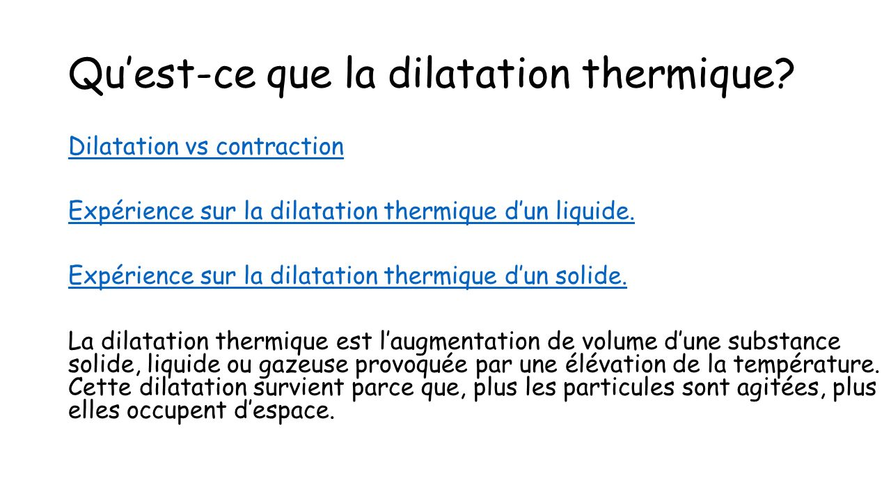 application de la dilatation des liquides