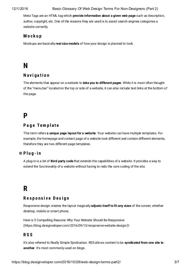 designing a glossary for a website