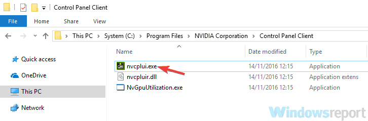 nvidia control panel application has stopped working